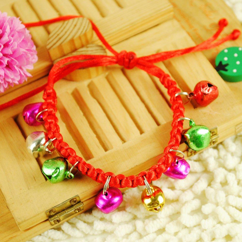 猫猫狗狗 超酷多彩色手工编织铃铛小项圈 颜色随机