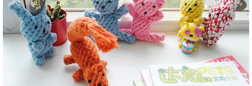 出口棉绳 狗狗编织玩具 动物系列 小熊