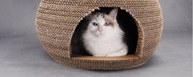 田田猫 纯手工瓦楞纸球形喵星人猫窝 猫房子 时尚玩乐