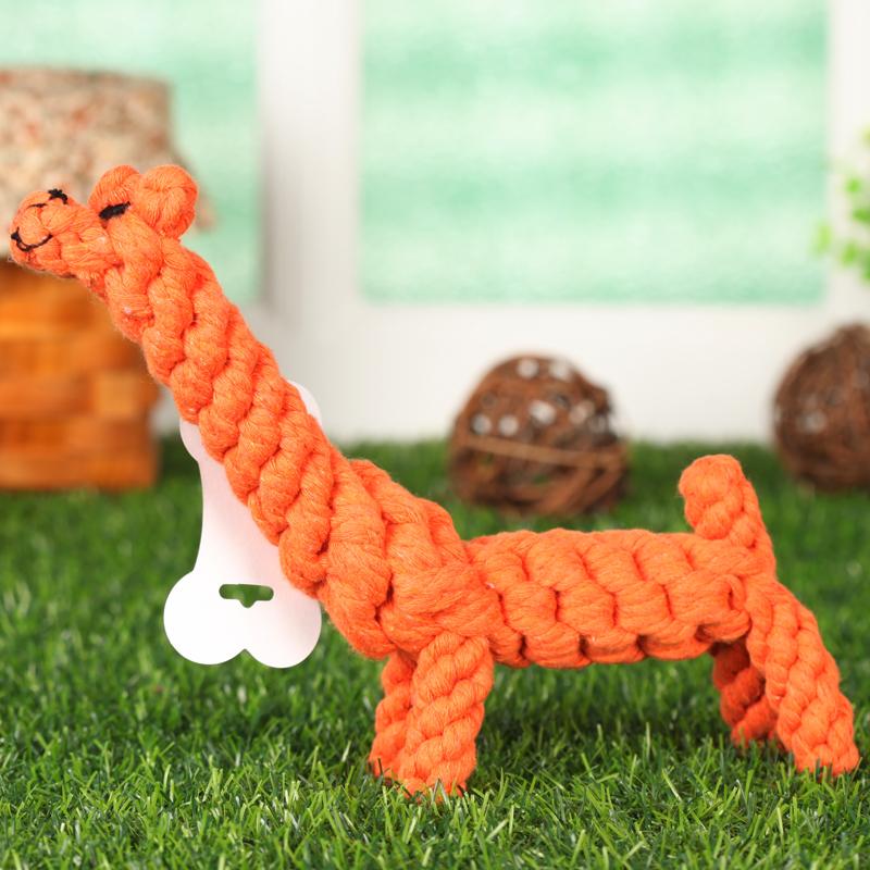 出口棉绳 狗狗编织玩具 动物系列 长颈鹿 总长25cm