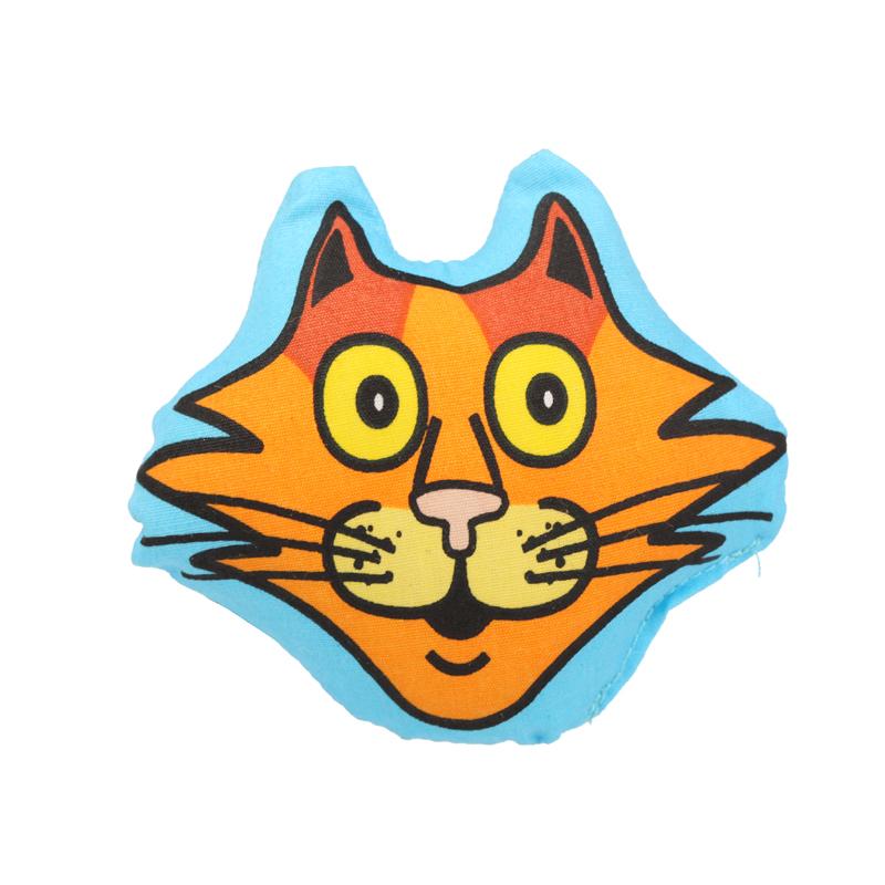 田田猫 猫玩具 卡通猫头小枕头/抱枕 添加猫薄荷草 橙色 长8cm*宽5.