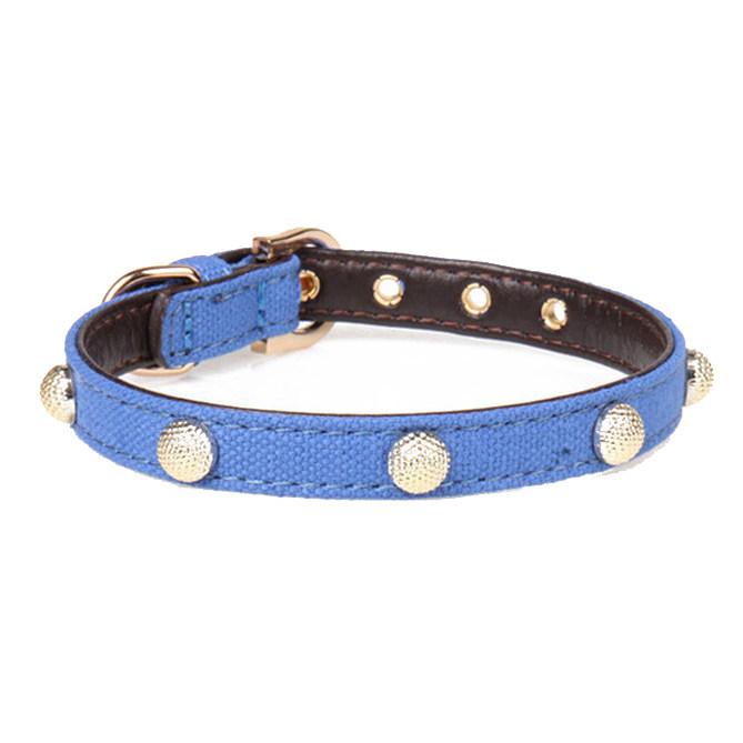 阿明格 金属圆点宠物项圈 深蓝色 s号 1.3*35cm